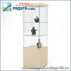 Музейная выставочная витрина с полками, тумбой и врезным остеклением
